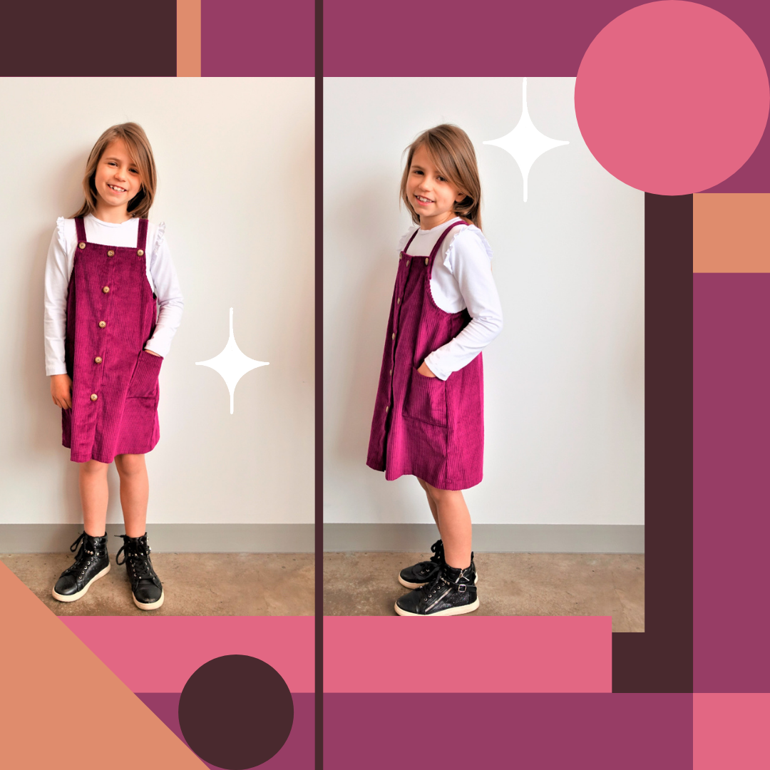 Style Arc's latest release - Unisex Zoe Kids Pinafore out now! Available in sizes 1-8 (years)