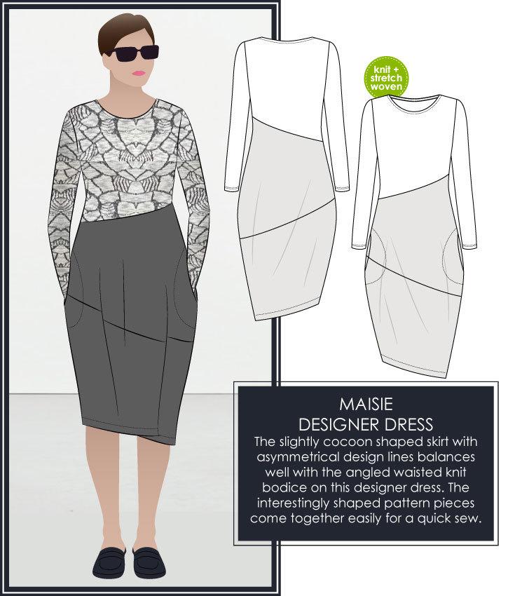 New Maisie Designer Dress Sewing Pattern – Style Arc