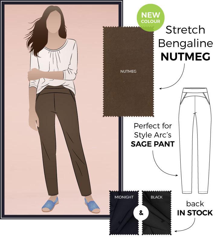 Sage Pant + Nutmeg Bengaline by Style Arc
