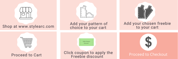 Shop at Style Arc, add your pattern of choice and freebie pattern to your cart, proceed to check out, click coupon