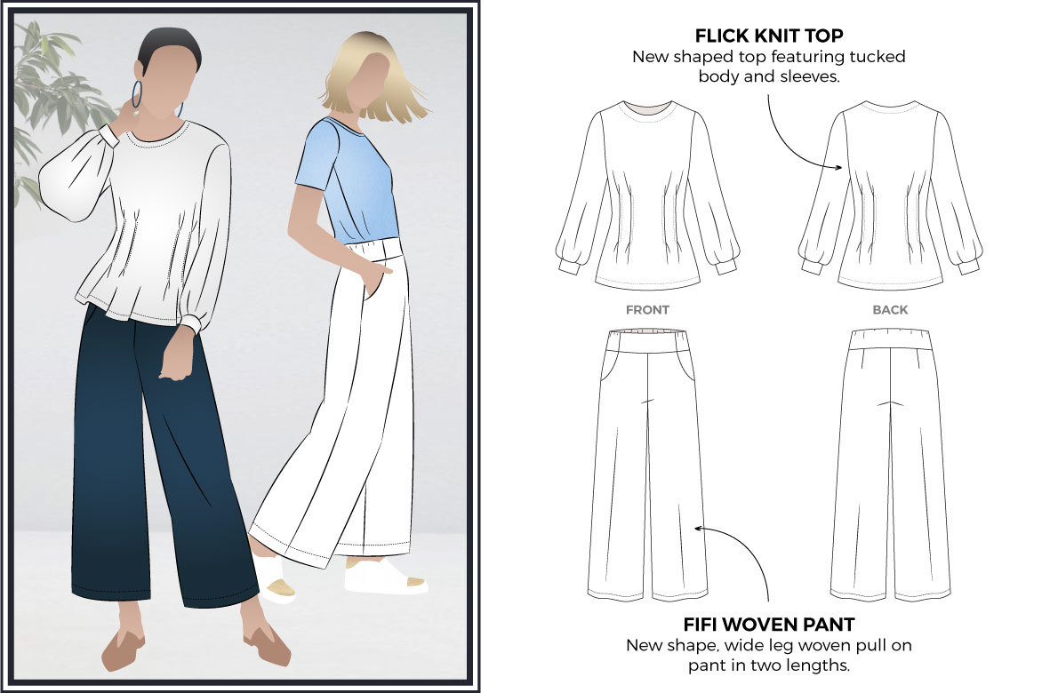 Fifi Woven Pant and Flick Knit Top Sewing Patterns by Style Arc