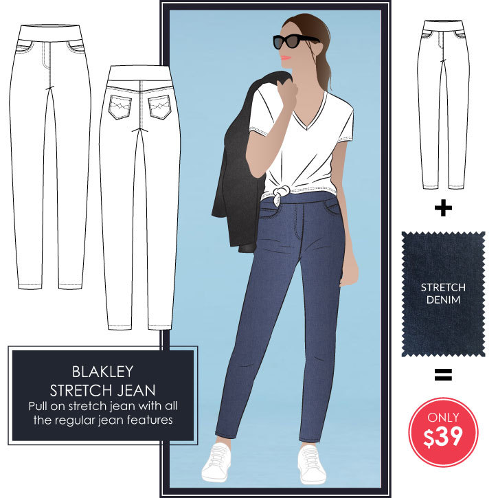Blakley Stretch Jean Fabric + Pattern Bundle by Style Arc