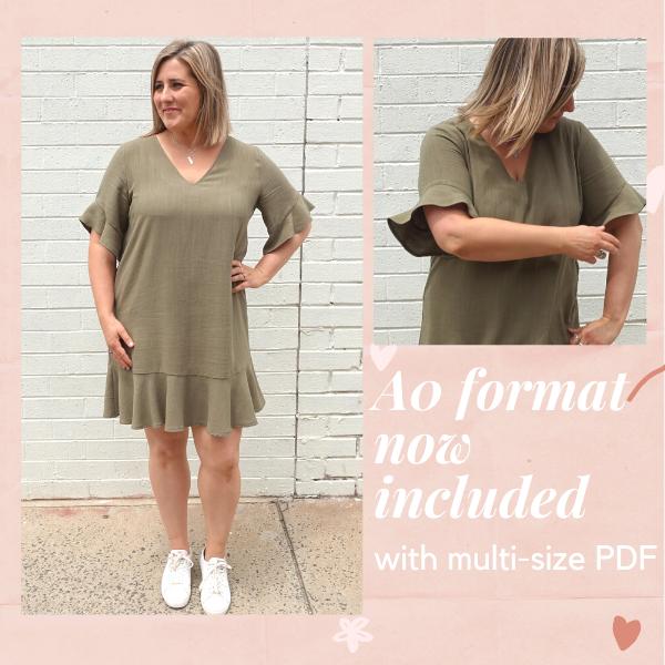 Pixie Woven Dress- multi size PDF now includes A0 format