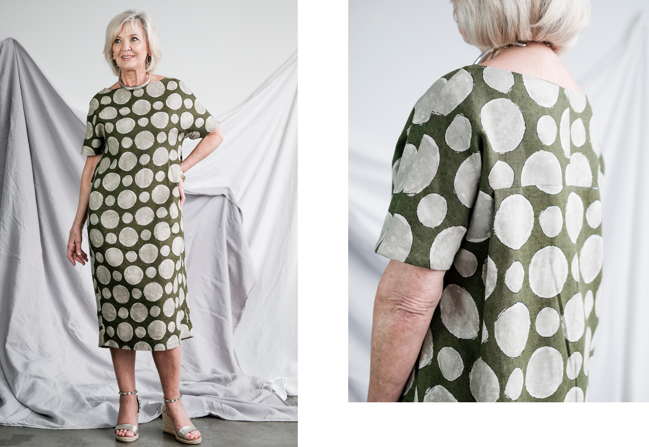 image of Melba dress in green spot fabric and close up of back pleat detail