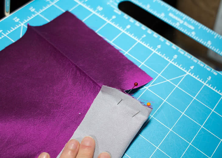 Now fold the long edge so right sides are together.