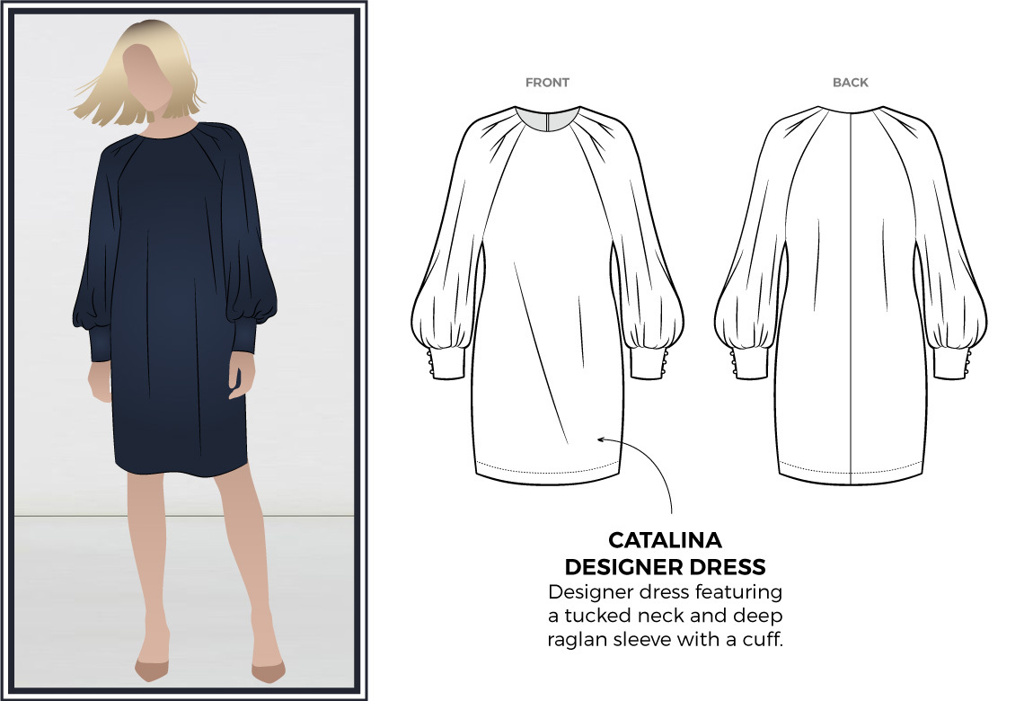 Catalina Designer Dress Sewing Pattern by Style Arc