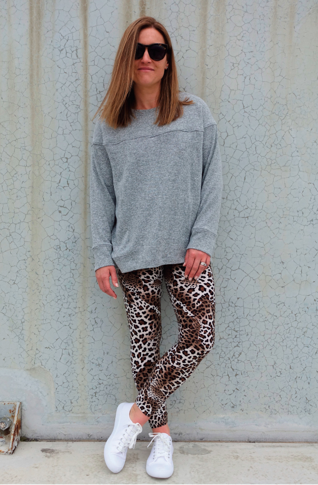 Laura Legging - Animal Print Jersey Black/Brown