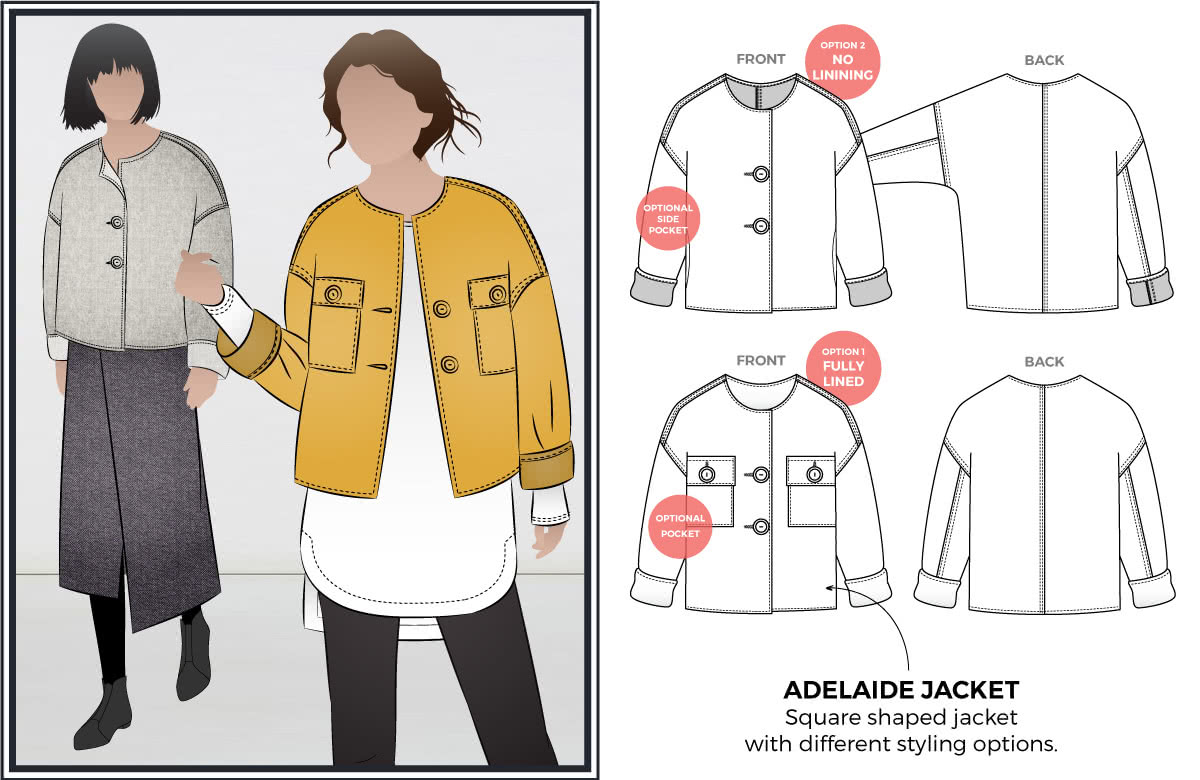 Adelaide Woven Jacket line drawing