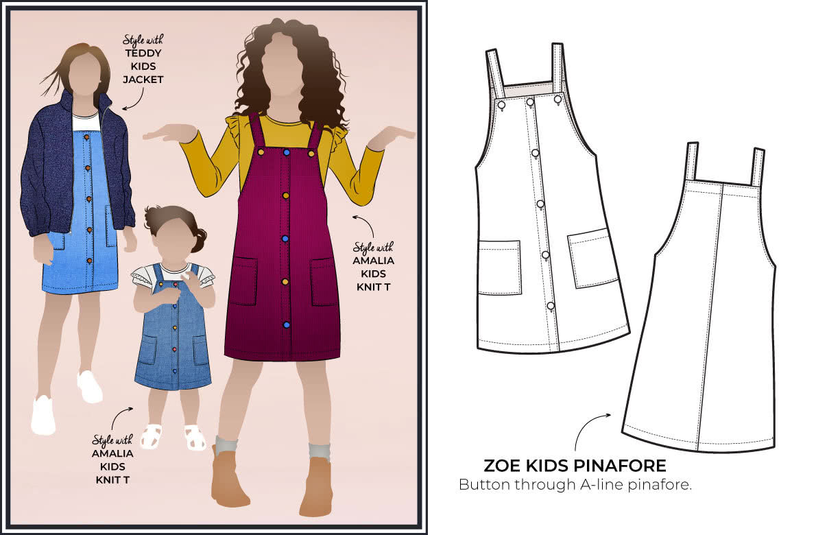 Style Arc's latest release -Zoe Kids Pinafore out now! Available in sizes 1-8 (years)