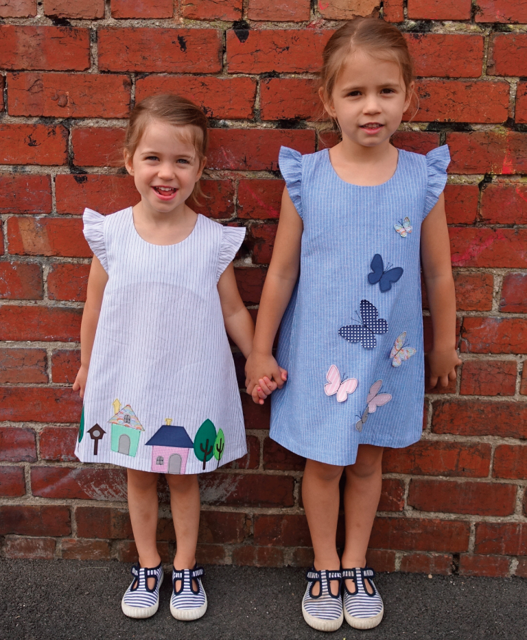 Andie Dress with Appliques - Houses and Butterflies attached.