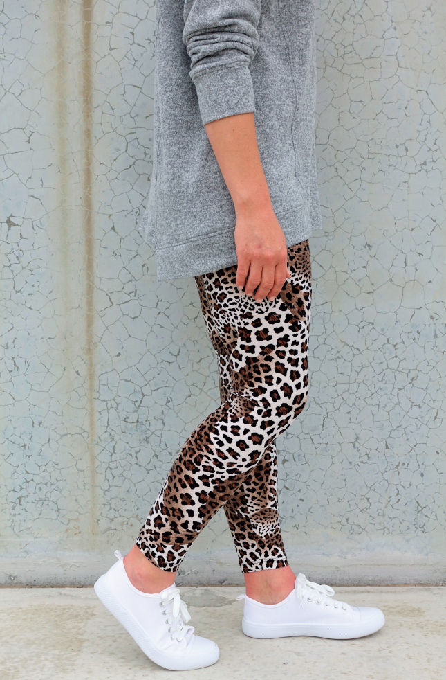 Laura Legging and Animal Print Jersey - Black/Brown