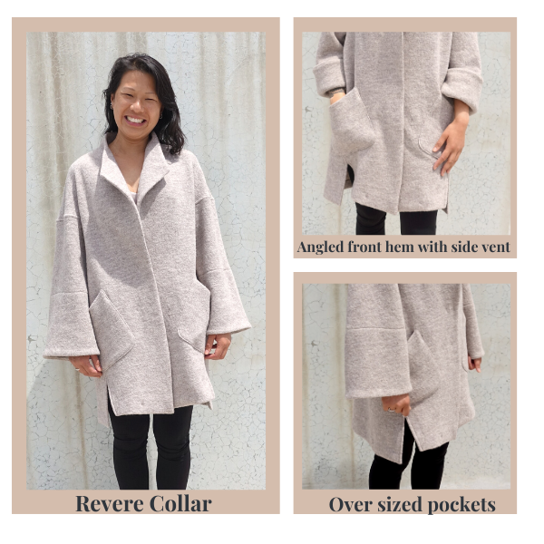 Petra Coat statement details- revere collar, angled front hem with side vent and oversized pockets