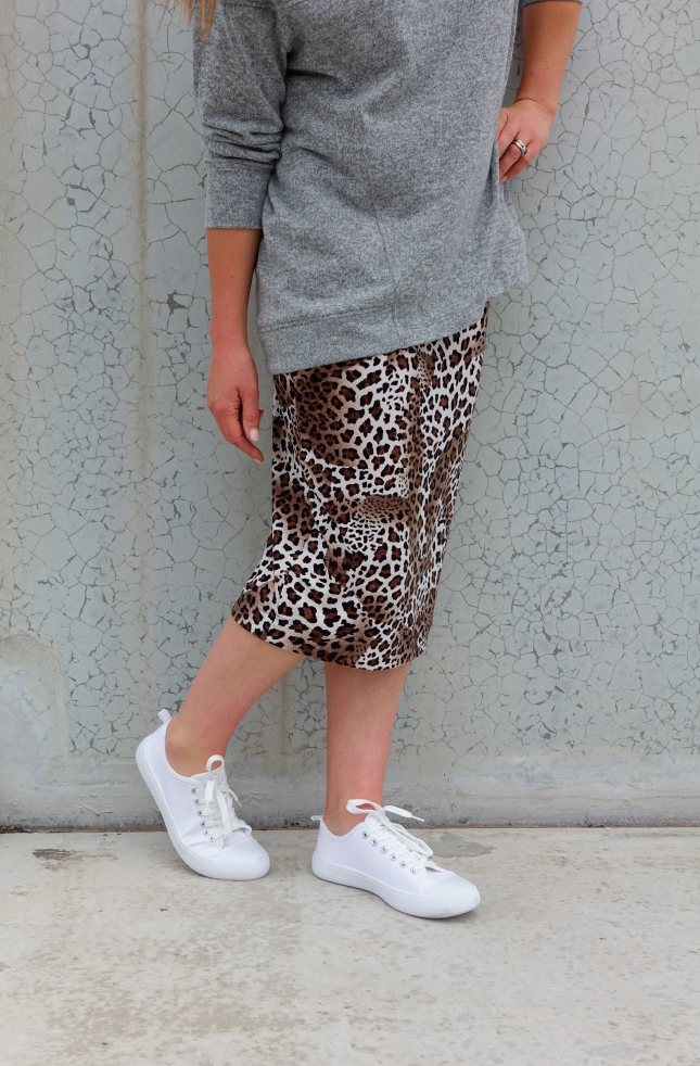 Rita Knit Skirt - Animal Jersey Black/Brown
