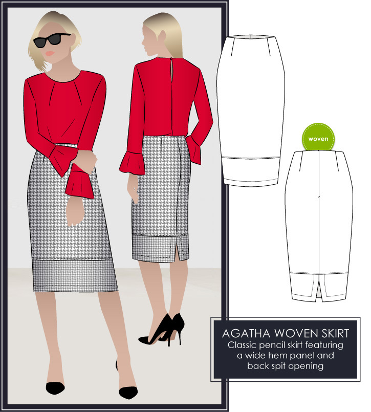 Agatha Woven Pencil Skirt