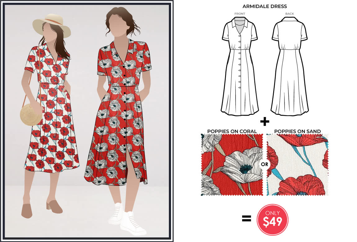 Armidale Dress and Poppies fabric bundle