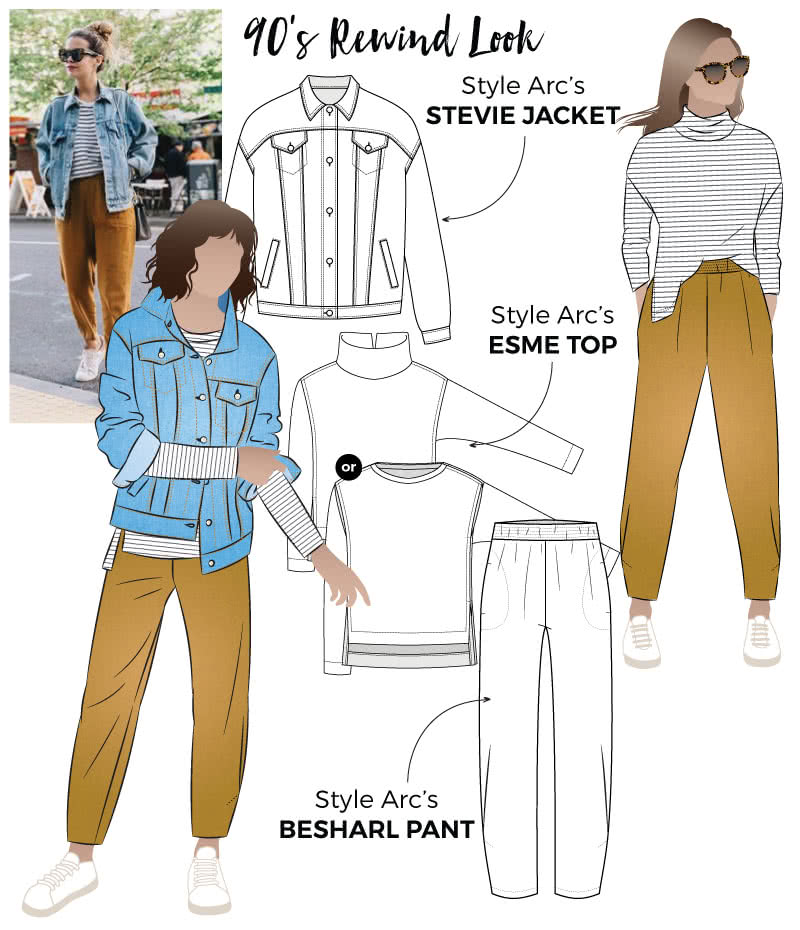 90s Rewind Look Sewing Pattern Bundle By Style Arc - Get the 90's rewind look with this discounted three-pattern bundle which includes the Stevie Jacket, Esme Designer Top and Besharl Pant.