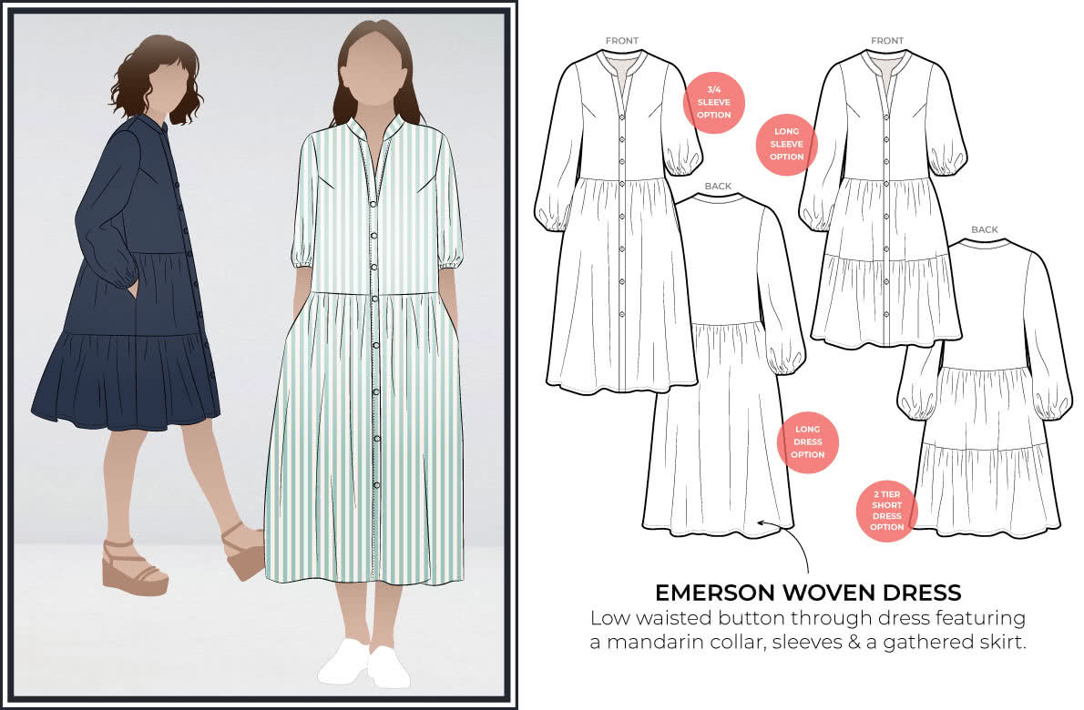 Emerson Woven Dress- line drawing