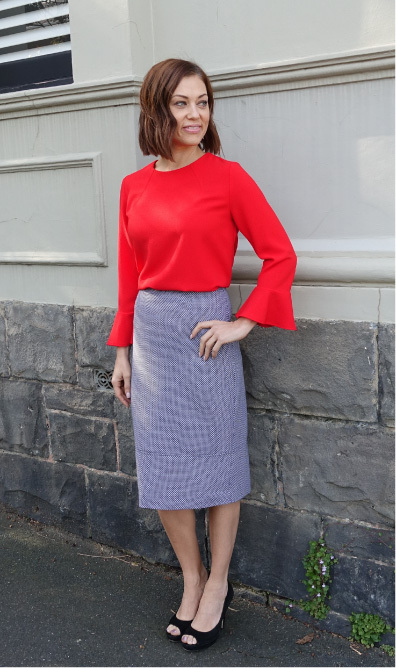 Kristy Woven Top and Agatha Woven Pencil Skirt