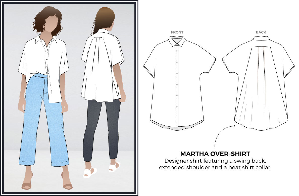 Martha Overshirt Sewing Pattern by Style Arc