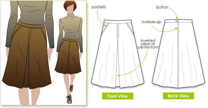A Line Skirt pattern - Style Arc - Hepburn Riding Skirt