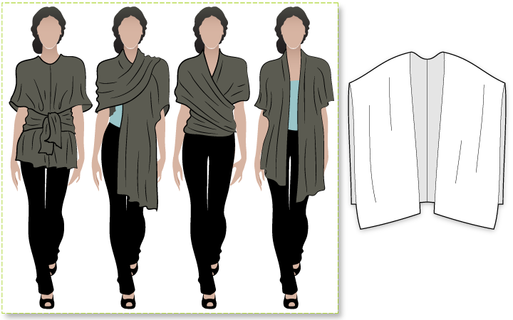Bella Wrap Sewing Pattern By Style Arc - Versatile wrap - many styles in one simple pattern