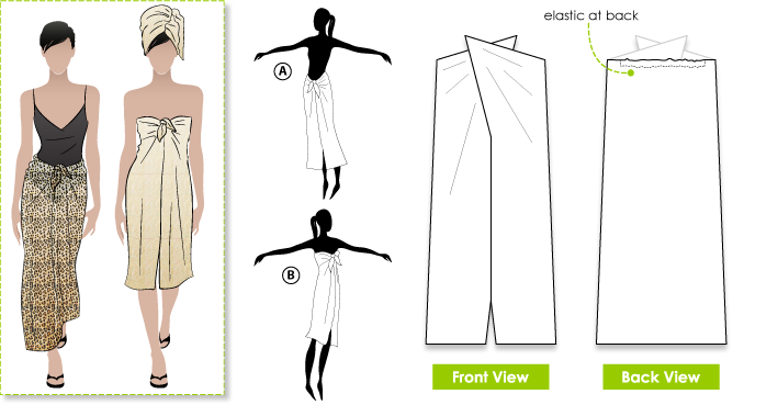Fabulous Freda Sewing Pattern By Style Arc - Summer dress, beach sarong & bathroom wrap in one