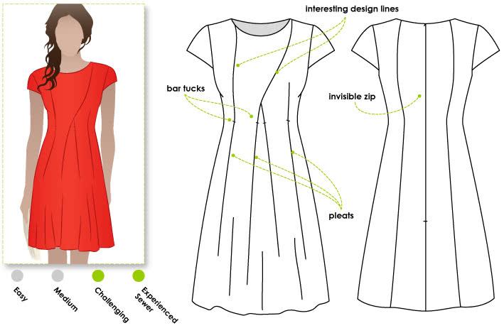 Addison Dress Sewing Pattern By Style Arc - Fabulous pleated peplum top