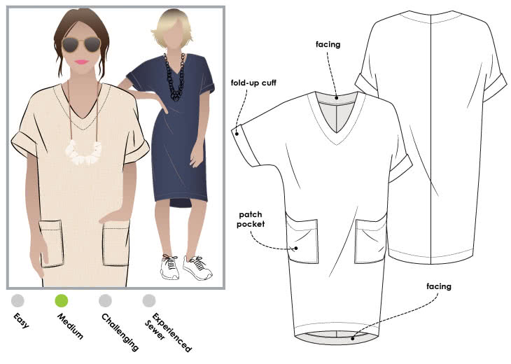 Adeline Dress Sewing Pattern By Style Arc - Easy Designer Dress