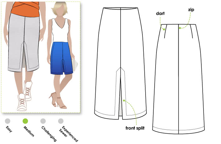 Adrienne Skirt Sewing Pattern By Style Arc - Classic split front mid-calf skirt