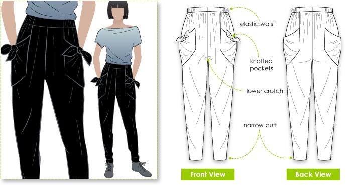 Alexi Pant Sewing Pattern By Style Arc - Great new harem pant shape with knot pockets