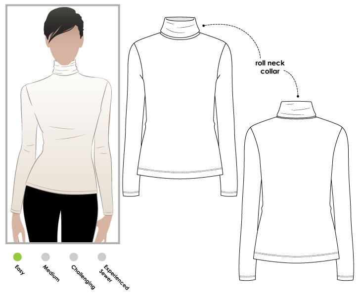 Alexi Top Sewing Pattern By Style Arc - Knit pull on skivvy with roll neck