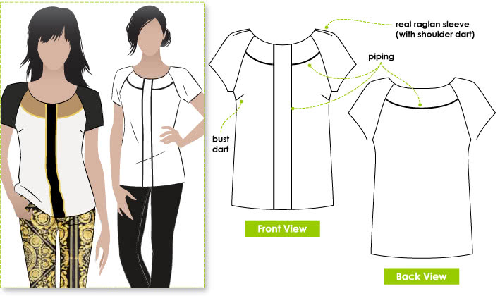 Amber Woven Blouse Sewing Pattern By Style Arc - Fashionable slip on top featuring interesting details