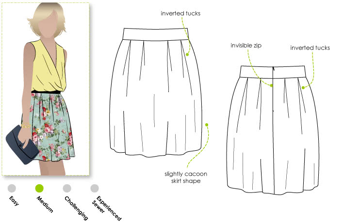 Amilie Tucked Skirt Sewing Pattern By Style Arc - Tucked woven skirt with slight cocoon shape