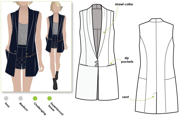 Andrea Woven Vest Sewing Pattern By Style Arc - Trendy long line vest with shawl collar & pockets