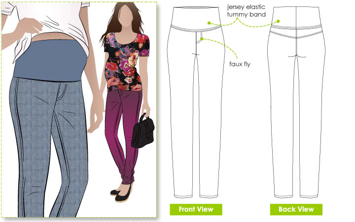 Andy Maternity Pant Sewing Pattern By Style Arc - Trendy slim line stretch maternity pant