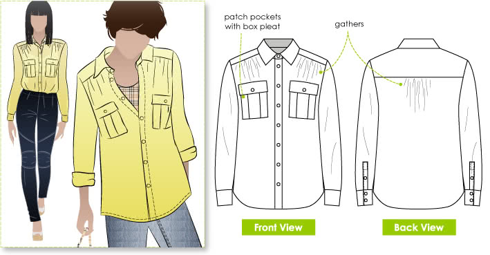 Angela Blouse Sewing Pattern By Style Arc - Stylish and fashionable blouse with comfort
