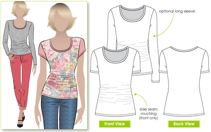 Ann T-Top Sewing Pattern By Style Arc - Latest style tee with side seam rouching