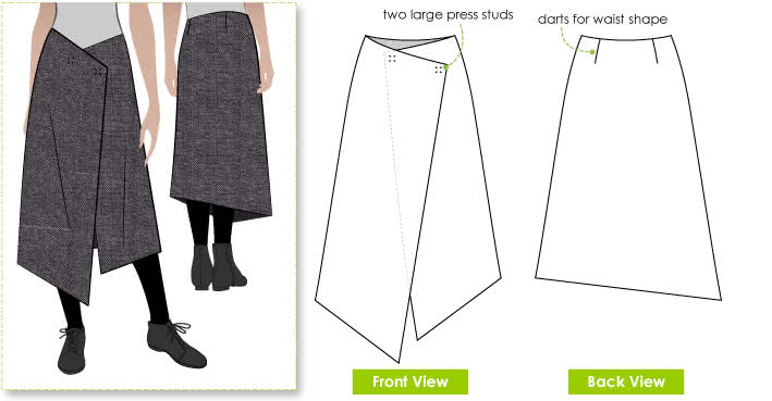 Annetta Skirt Sewing Pattern By Style Arc - Clever one piece no fuss asymmetrical wrap skirt