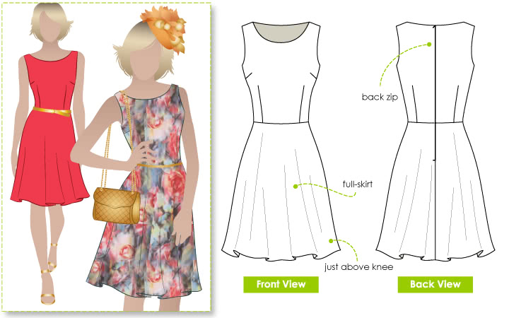 Anthea Dress Sewing Pattern By Style Arc - Trendy woven dress with a slight boat neckline