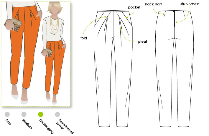 Antoinette Pant Sewing Pattern By Style Arc - Designer slouchy angled pleat front pant