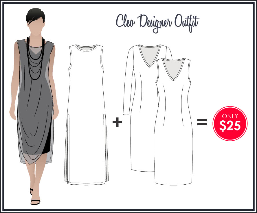 Cleo Designer Outfit Sewing Pattern Bundle By Style Arc - Chic & trendy Cleo knit dress & tabard outfit