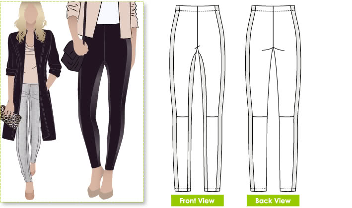 April Pant Sewing Pattern By Style Arc - Pull-on Ponte pant with front design line