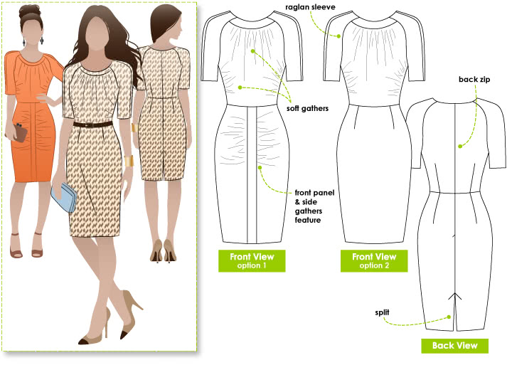 Ashley Dress Sewing Pattern By Style Arc - Flattering dress with gathers in the right places