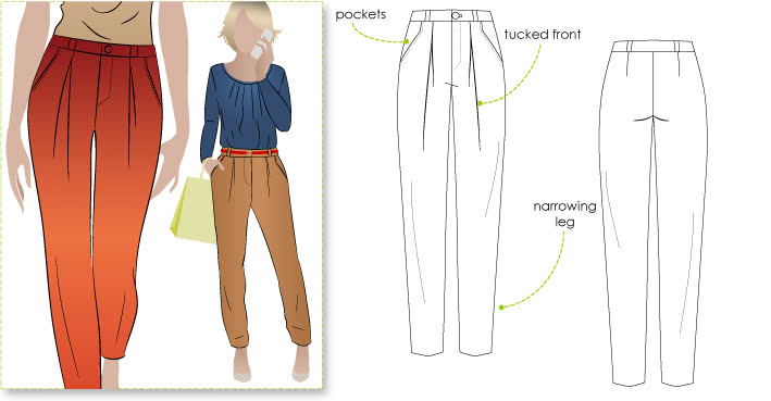 Audrey Pant Sewing Pattern By Style Arc - Great new shape boyfriend pant