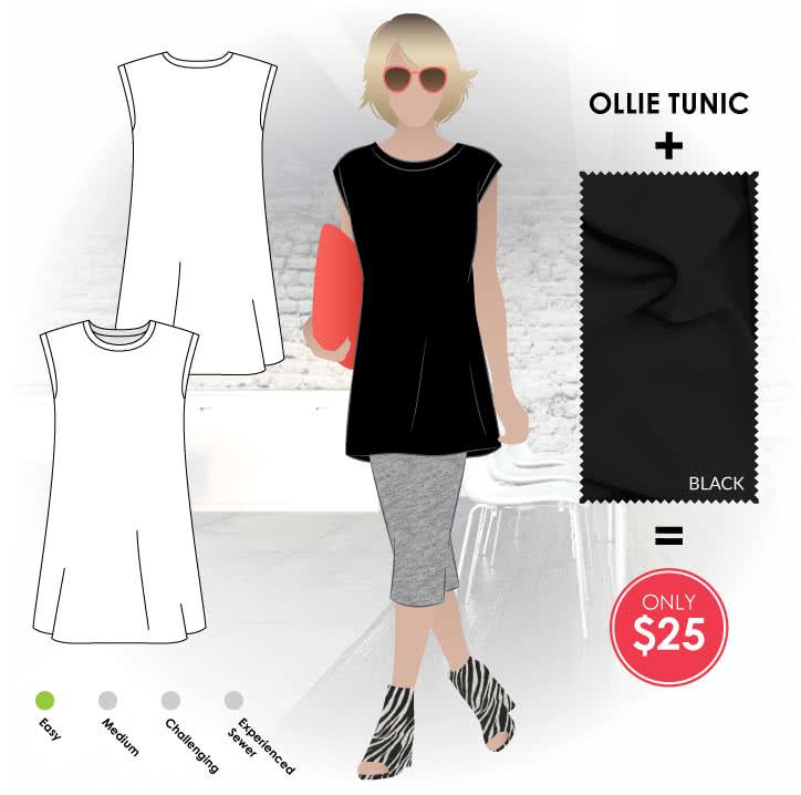 Ollie Tunic + Black Knit Jersey Sewing Pattern Fabric Bundle By Style Arc - Ollie Tunic pattern + Black knit jersey bundle.