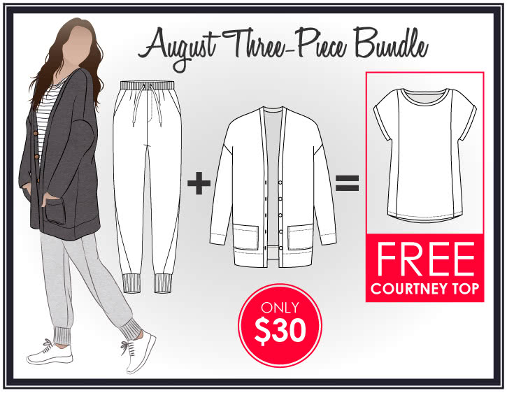 Sabel + Joni = Free Courtney Sewing Pattern Bundle By Style Arc - Buy Sabel Cardi & Joni Pants & get a FREE Courtney Top.