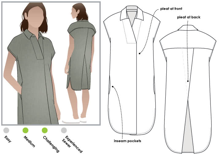 Autumn Dress Sewing Pattern By Style Arc - Versatile throw on dress with style, extended shoulder and interesting pleats