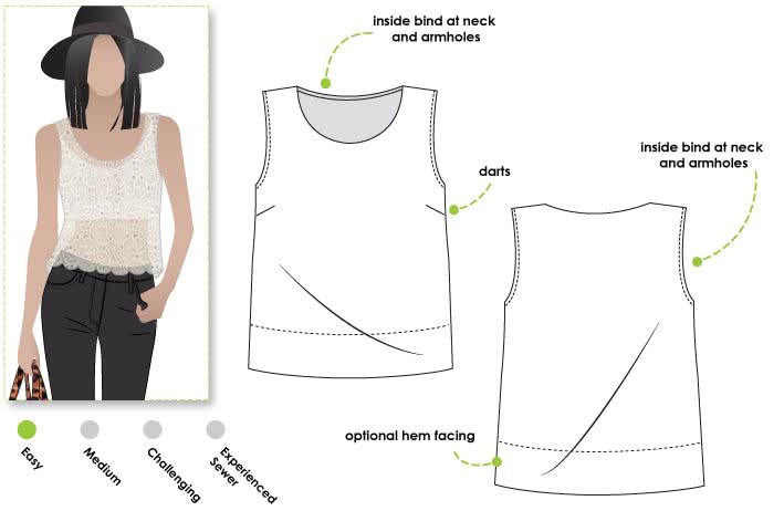 Ava Top Sewing Pattern By Style Arc - Simple boxy shape top with the new slightly cropped look