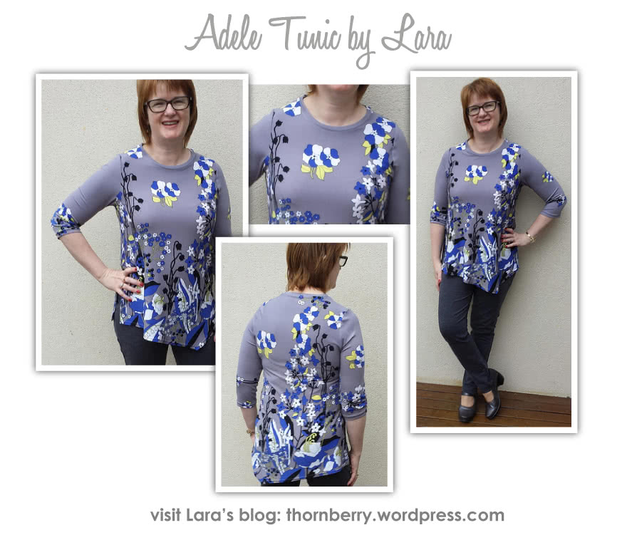 Adele Top Sewing Pattern By Lara And Style Arc - Stylish knit asymmetrical Tunic Top
