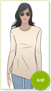 Adele Top Sewing Pattern By Style Arc - Stylish knit asymmetrical Tunic Top